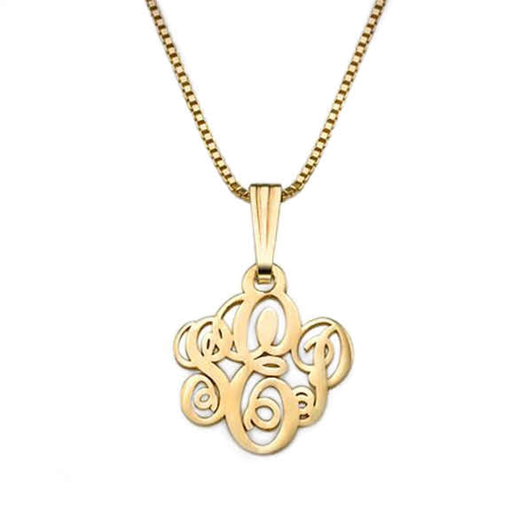 18K Gold Plated Sterling Silver Curly-Monogram Necklace - Allyanna Gifts