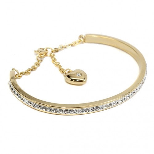 Gold CZ Bangle with Heart Charm