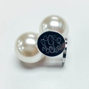 Stainless Steel Silver Monogram Earrings with Pearl Backs, Allyanna Gifts
