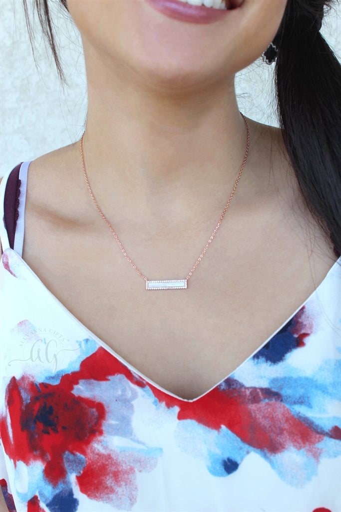 Sterling Silver CZ Mother of Pearl Bar Necklace