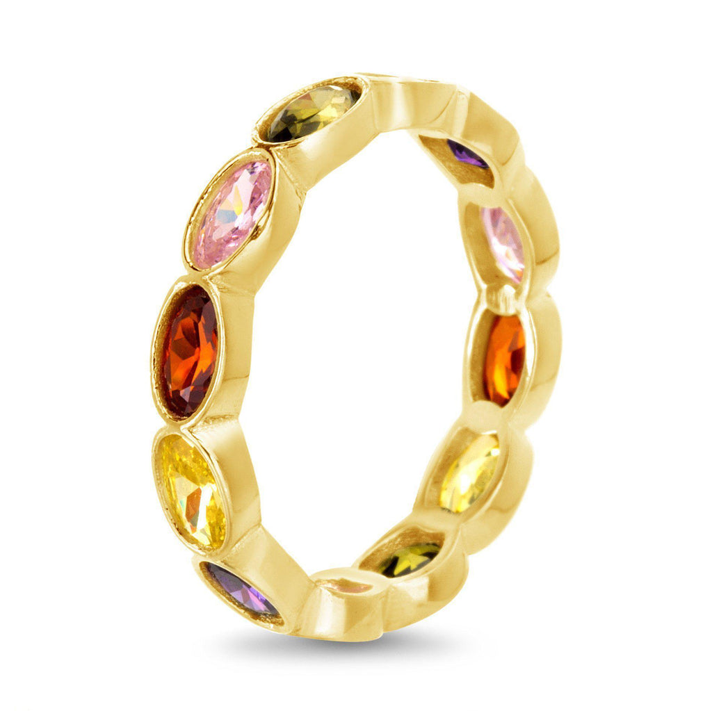 Multicolored CZ Oval Band Ring