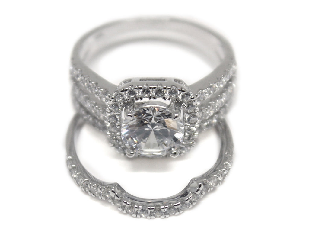 Sterling Silver Fitted Double Band Circle-cut CZ Ring with Square Setting