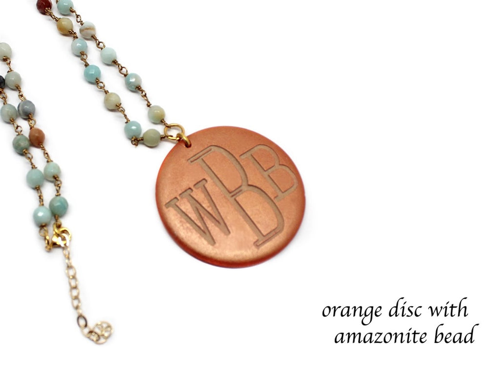 Beaded Necklace with Engraved Wood Pendant - Allyanna Gifts