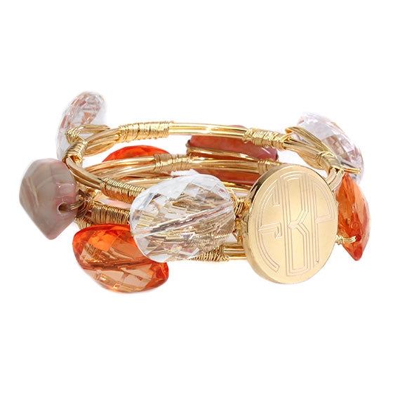 Orange and Clear Engravable Wire Wrap Bracelet