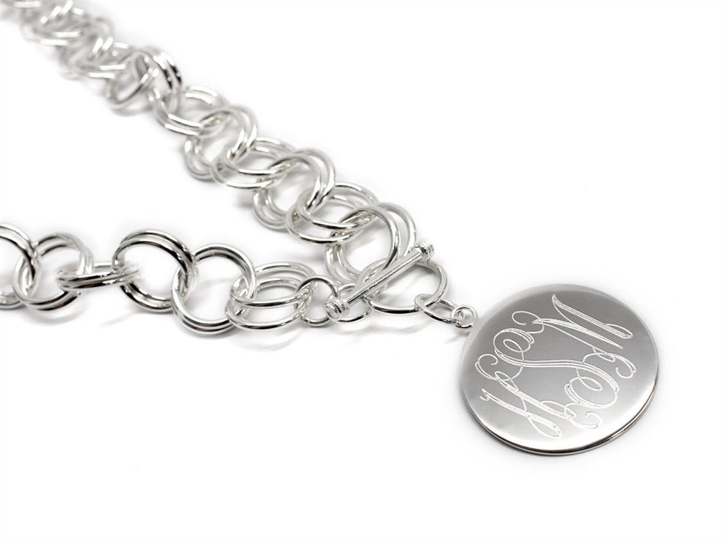 Engravable Circle Disc German Silver Necklace - Allyanna Gifts