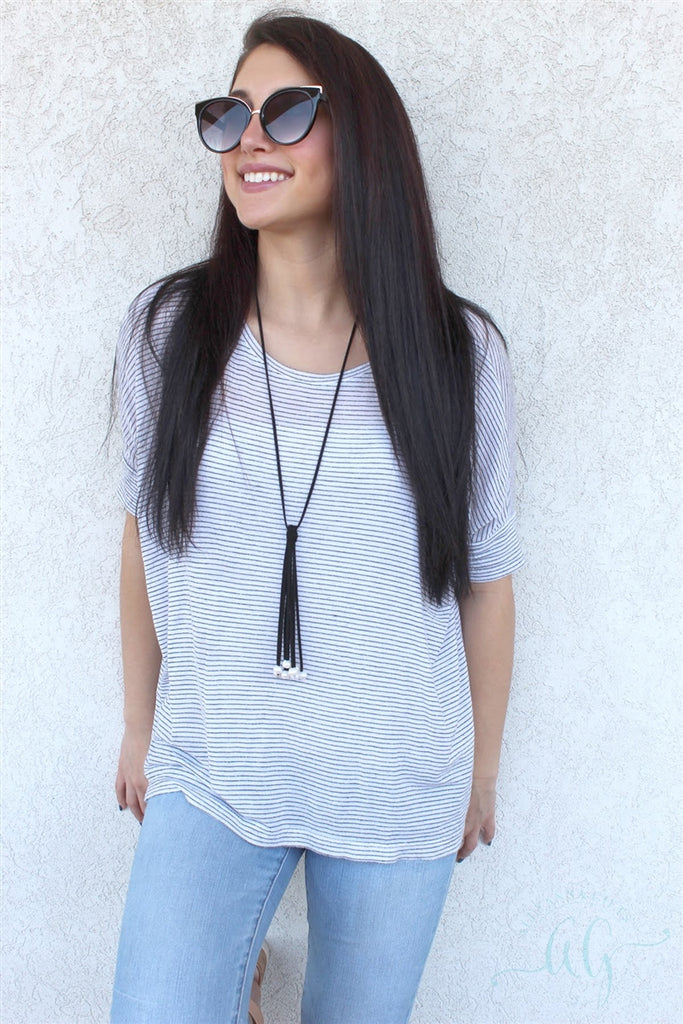 Trendy Pearl & Suede Tassel  Necklace, Allyanna Gifts