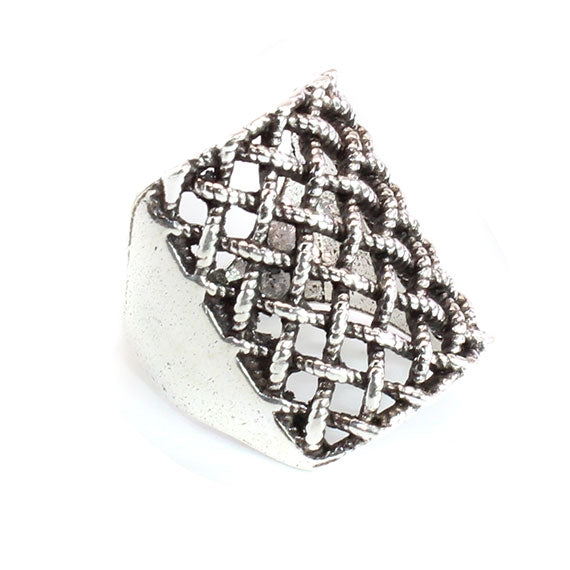 Sterling Silver Basket Weaver Bohemian Accent Ring