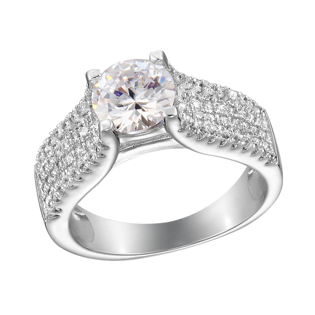 Sterling Silver CZ Circle-cut Ring with Thick CZ Band - Allyanna Gifts