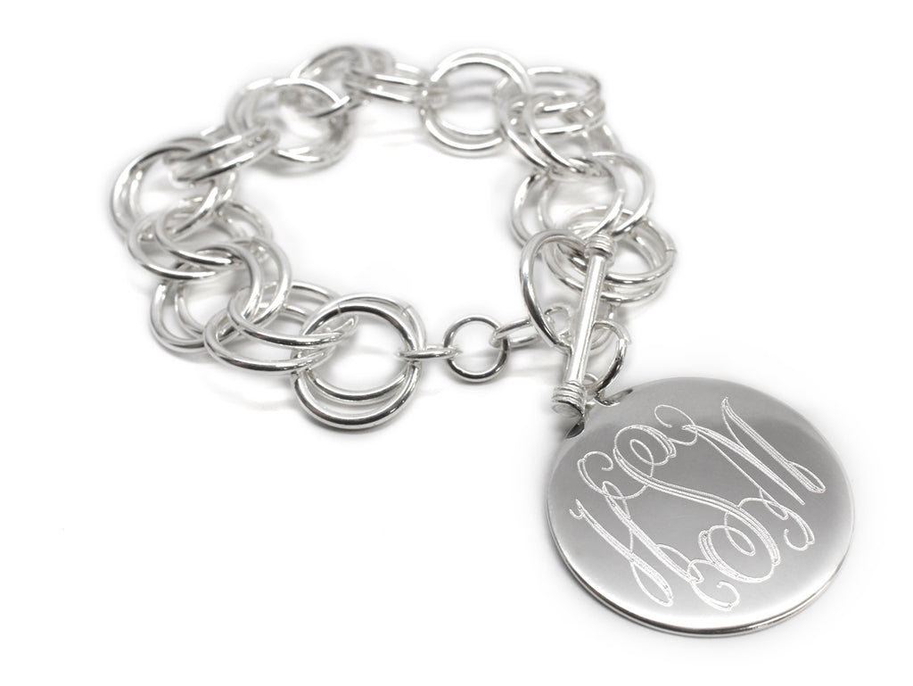 Engravable Circle Disc German Silver Bracelet - Allyanna Gifts