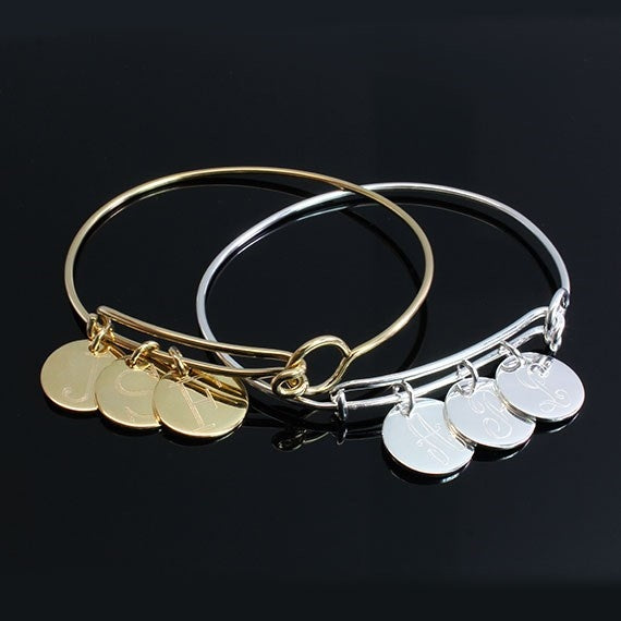 Trendy Expandable Bangles | 3 Engraved Monogram Disks