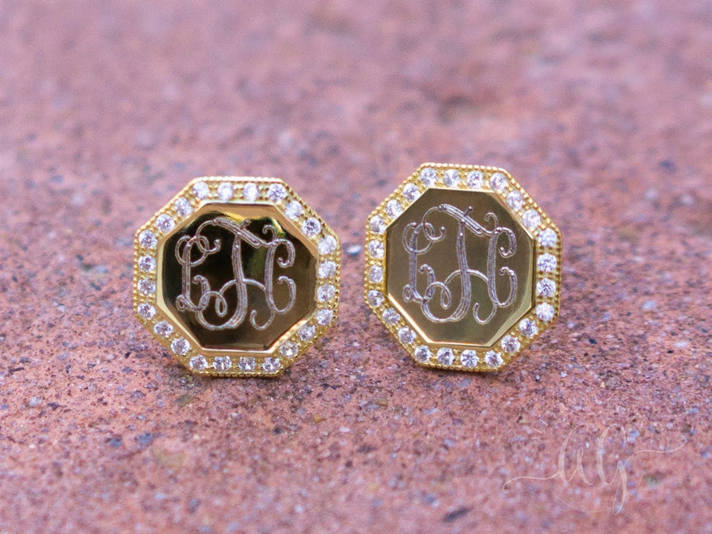 Sterling Silver Engravable Octagon CZ Earrings