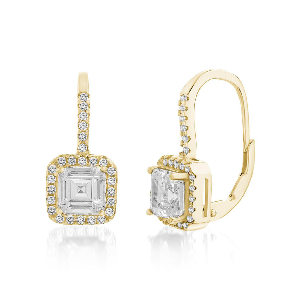 Gold CZ Lever Back Earring