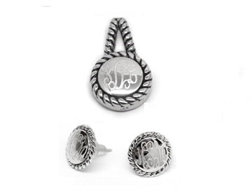 Sterling Silver Engravable Rope Earrings & Pendant Set