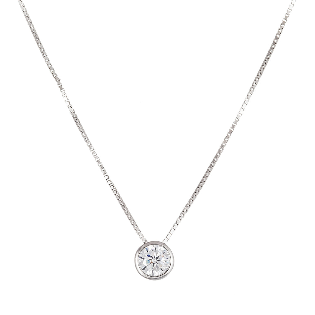 Round Cut Sterling Silver Necklace - Allyanna Gifts