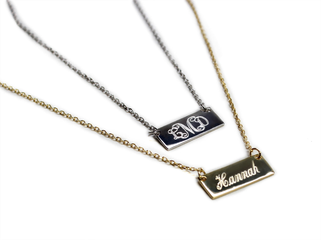 Sterling Silver Small Bar Necklace - Allyanna Gifts