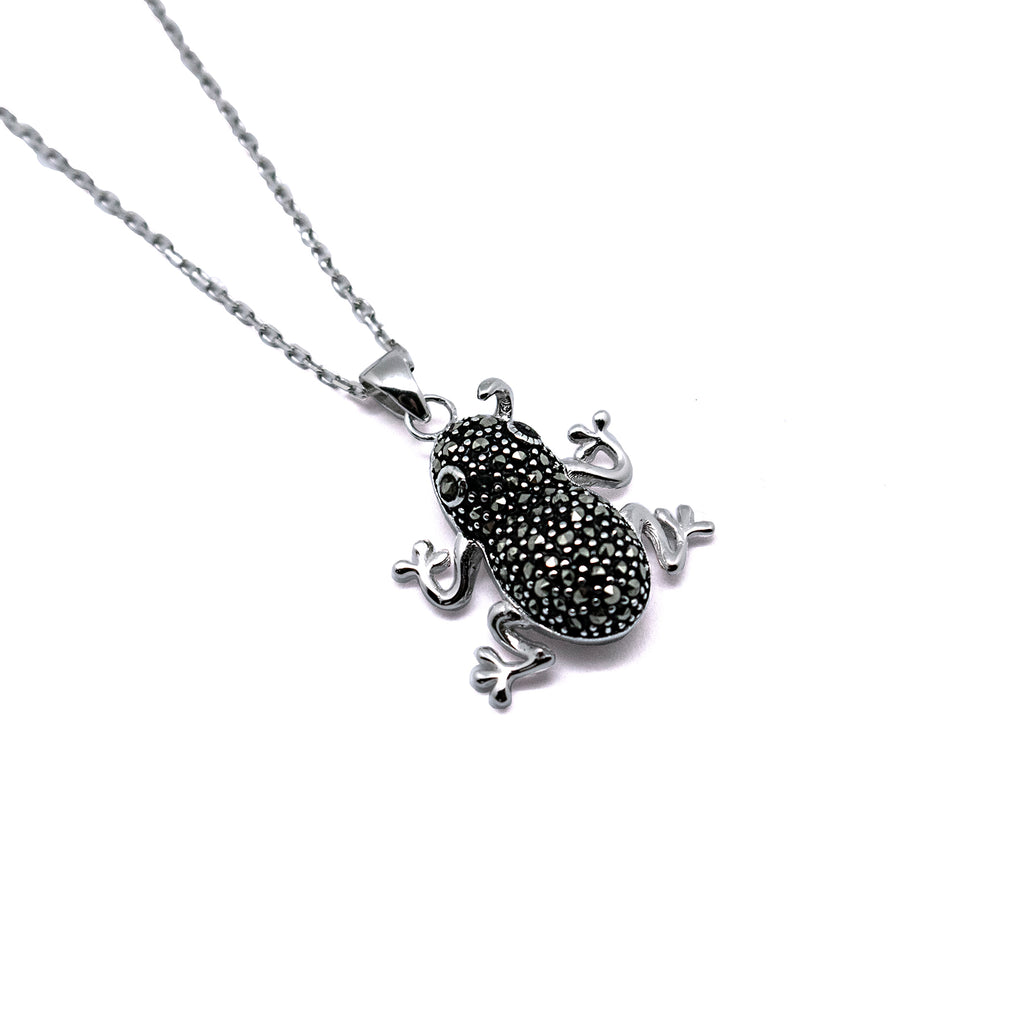 Sterling Silver CZ Frog Pendant