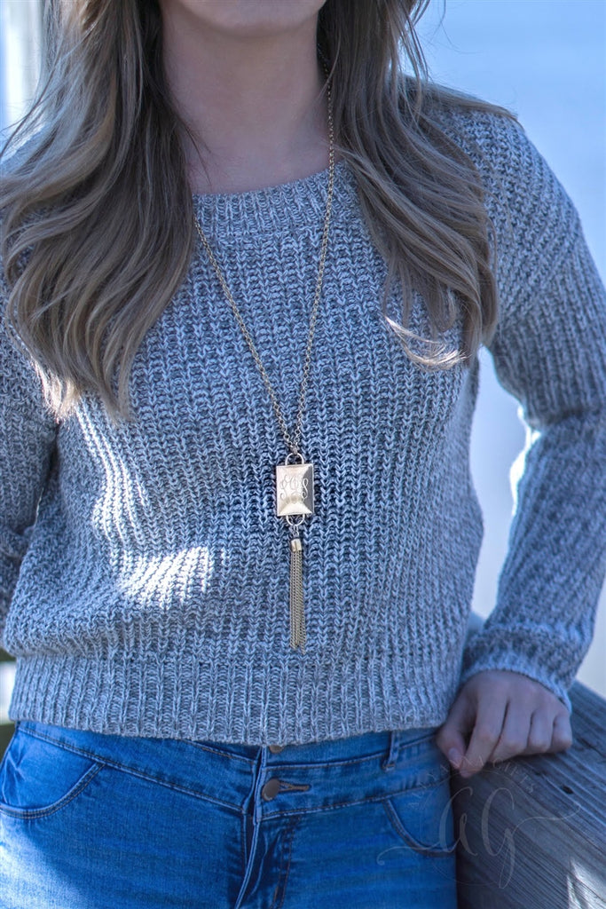 Engravable Rectangle Tassel Necklace