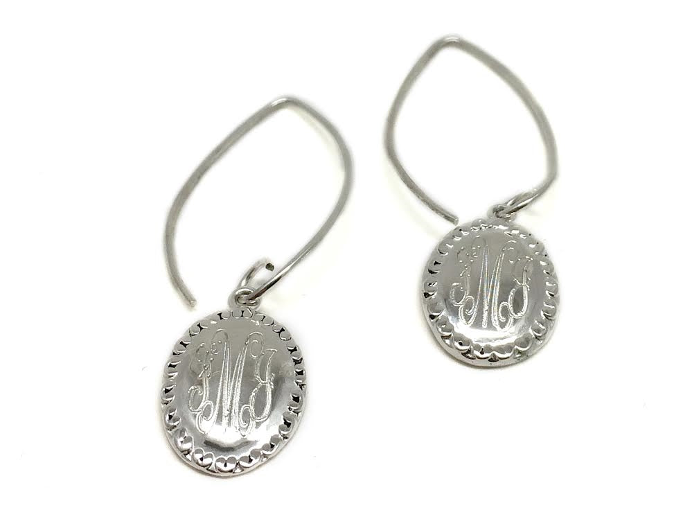 Oval Monogram Earrings, Allyanna Gifts