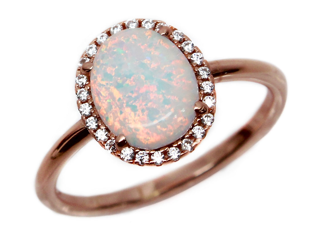 Rose Gold Sterling Silver Opal Ring - Allyanna Gifts