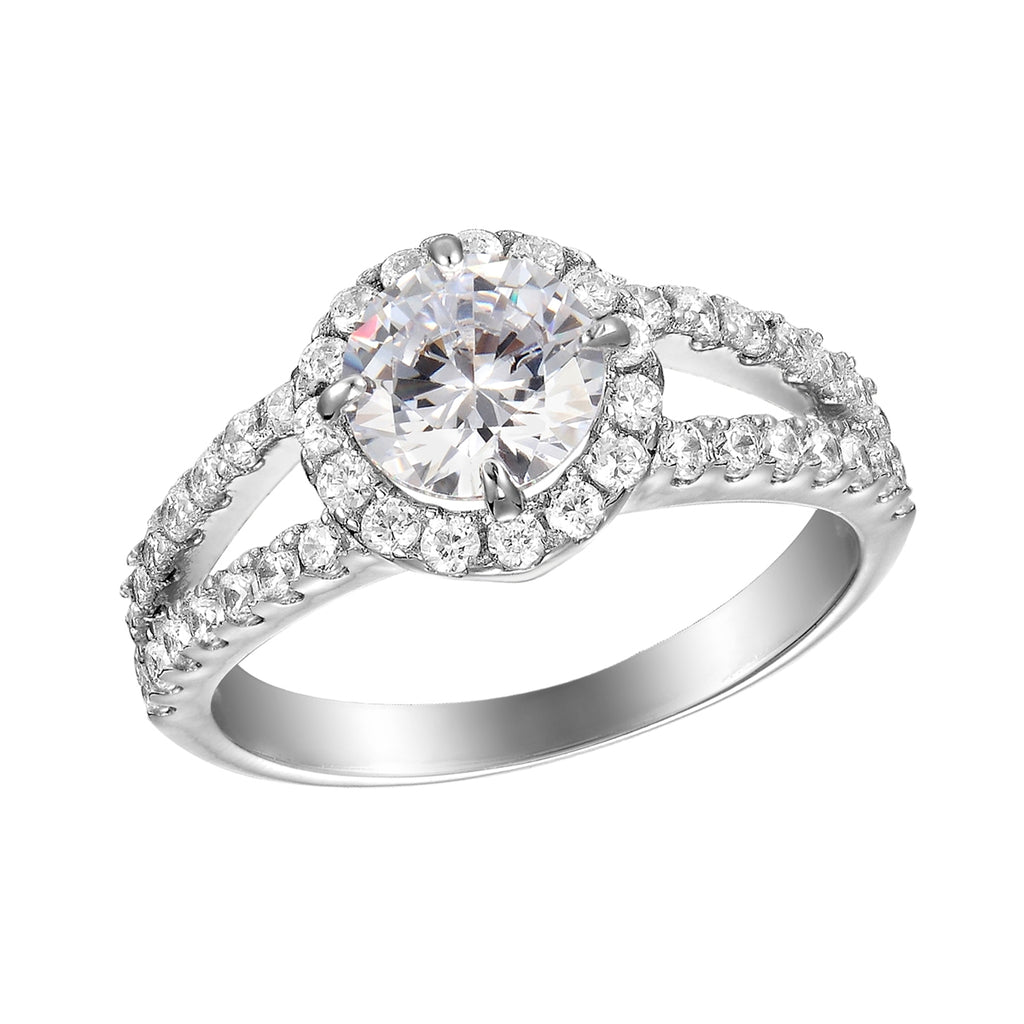 Sterling Silver CZ Circle-cut Ring with Split Band