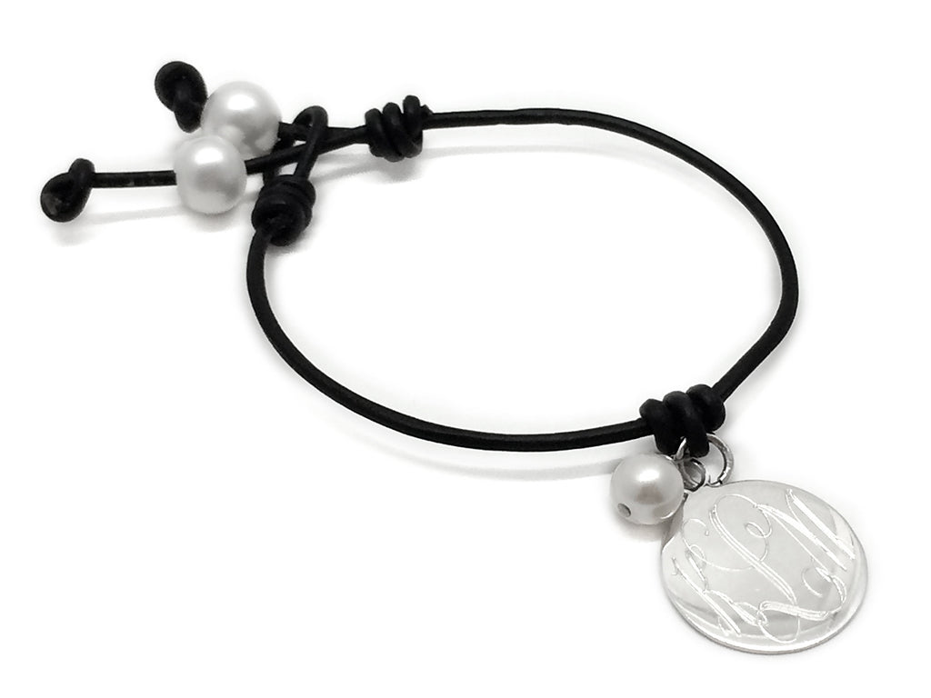 Freshwater Pearl Leather Bracelet with Sterling Silver Monogrammed Disc - Allyanna Gifts