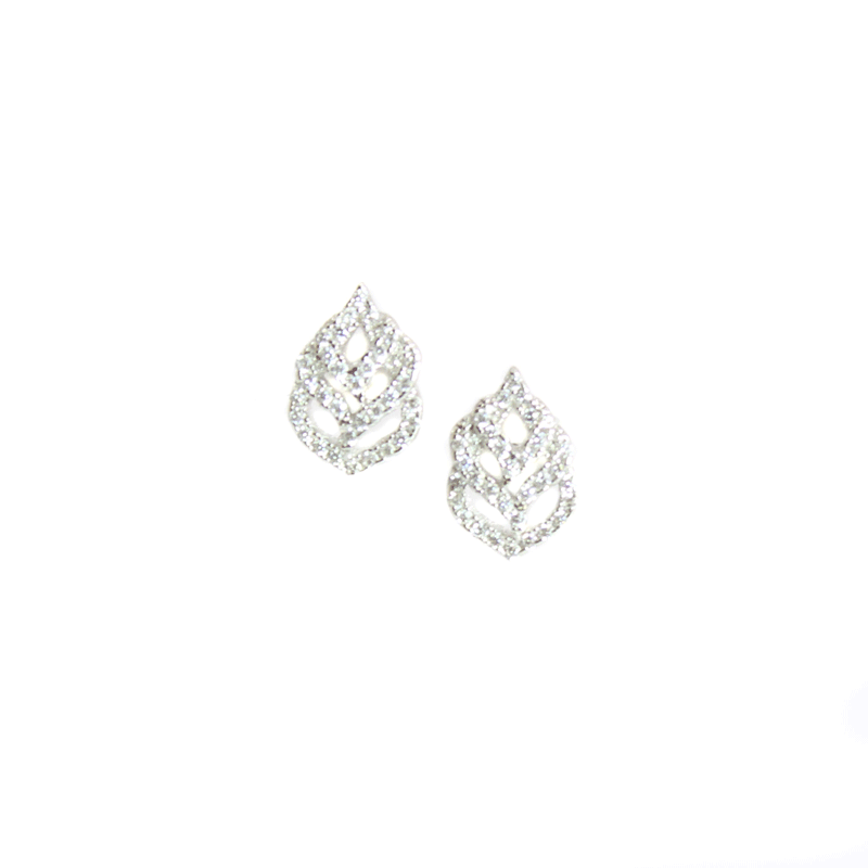 CZ Stone Leaf Earrings and Pendant