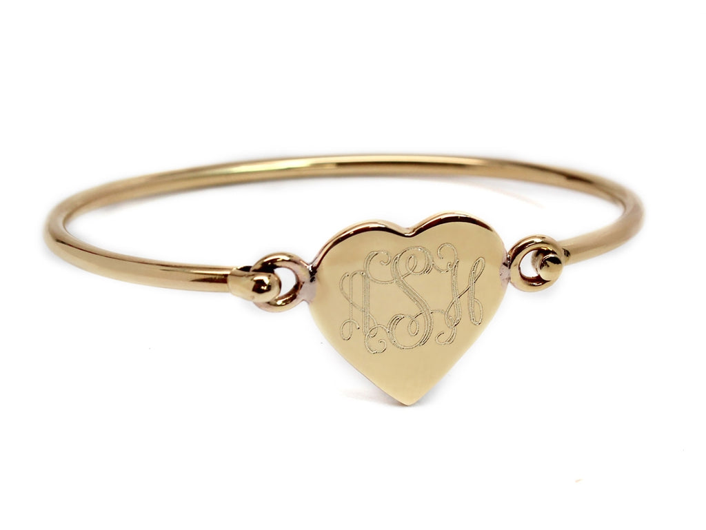 Gold Heart Engravable German Silver Bracelet - Allyanna Gifts
