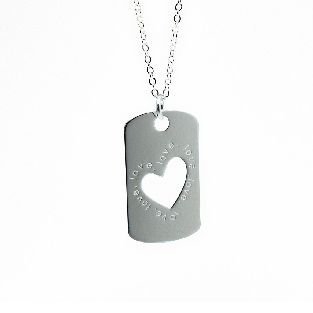 Heart Cut Dog Tag Necklace