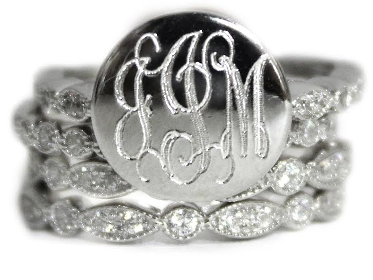 Monogrammed Decorative Stackable Sterling Silver CZ Rings