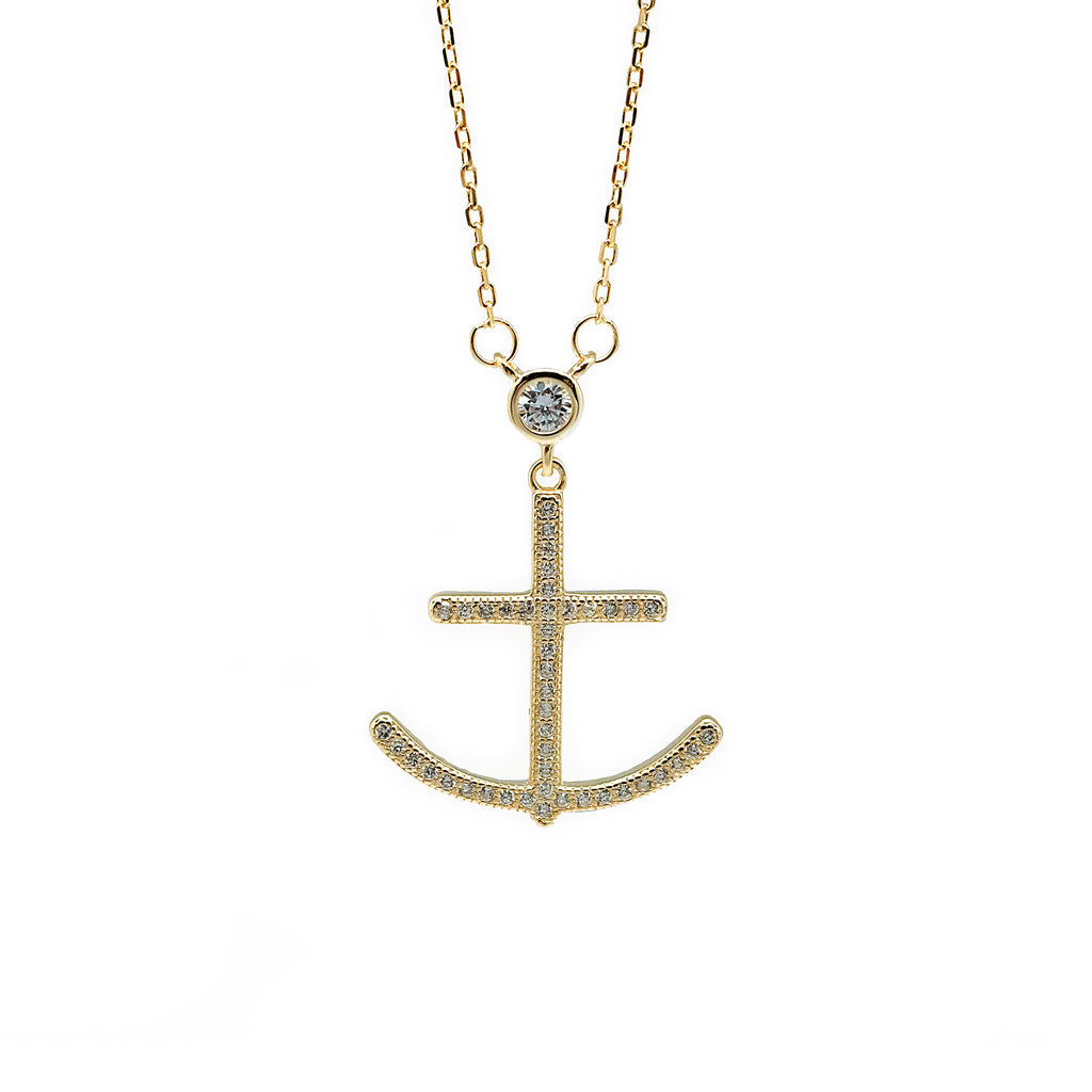 Anchor CZ Stone Necklace