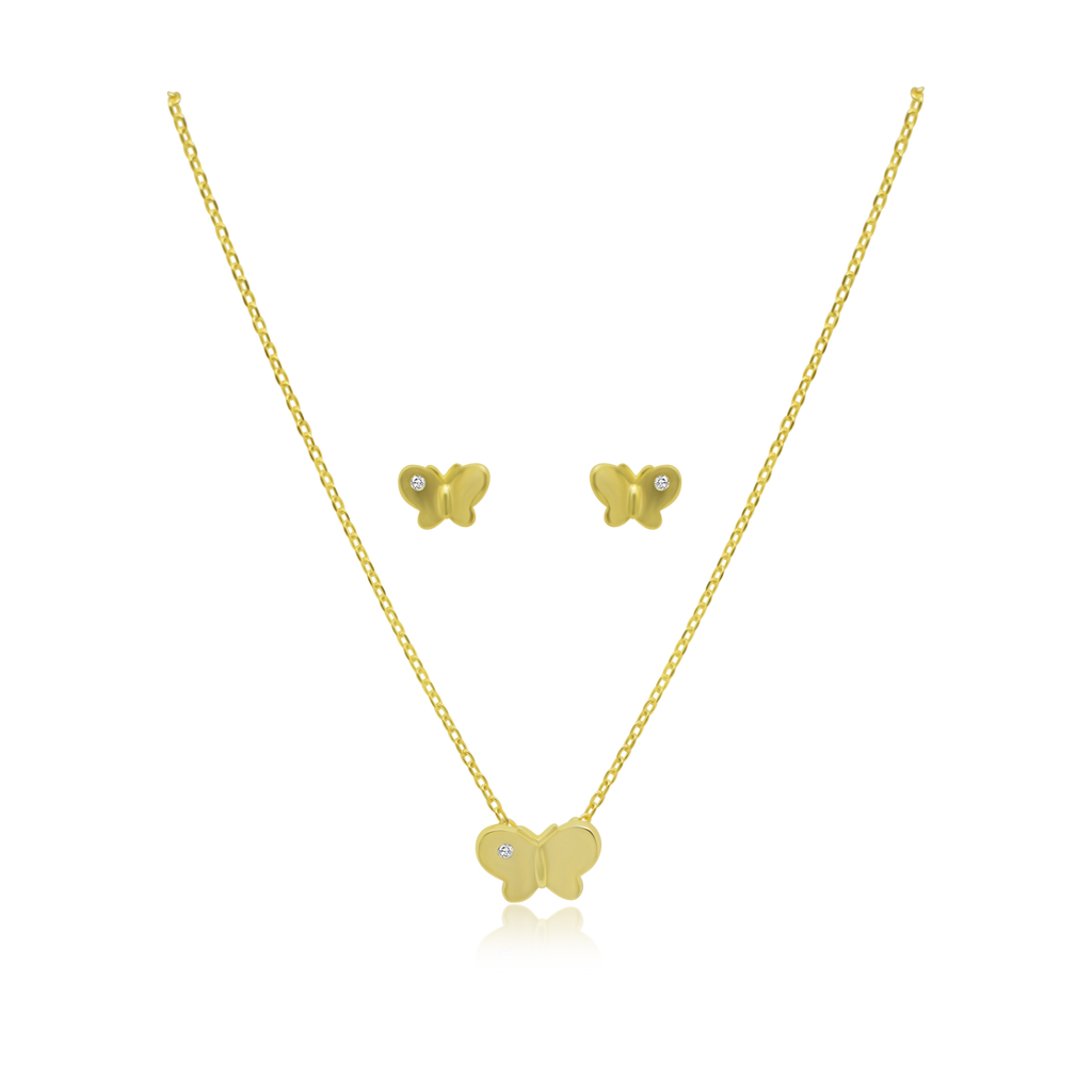 CZ Butterfly Necklace & Earring Set