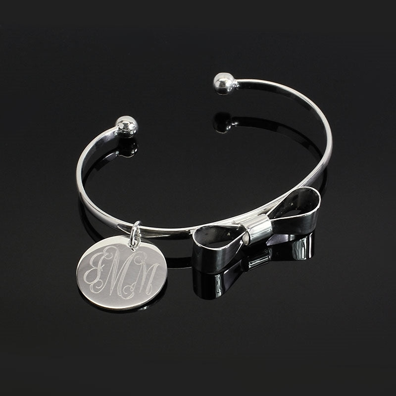 Bow Tie Bracelets with Engraved Monogram Disc