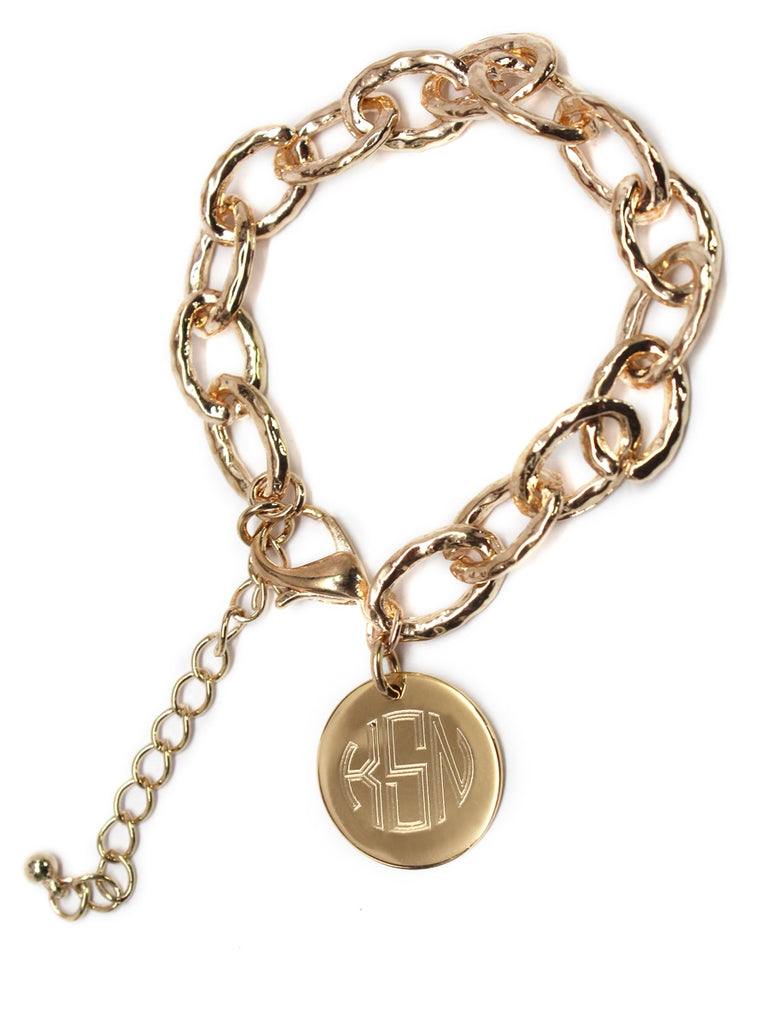 Designer Inspired Hammered Bracelet with Monogrammed Disc