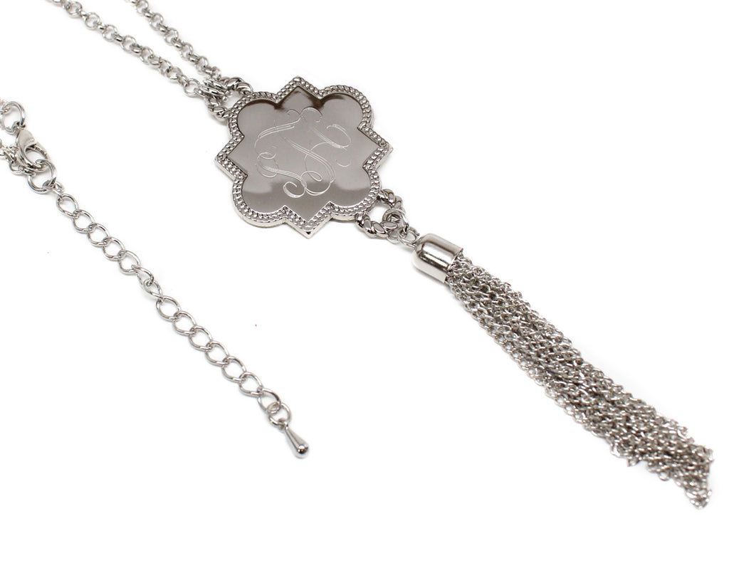 Engravable Quatrefoil Tassel Necklace