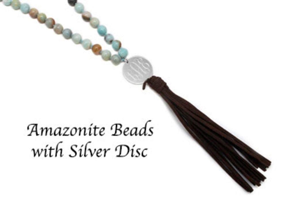 Amazonite Beaded Suede Tassel Necklace with Engraved Stainless Steel Disc