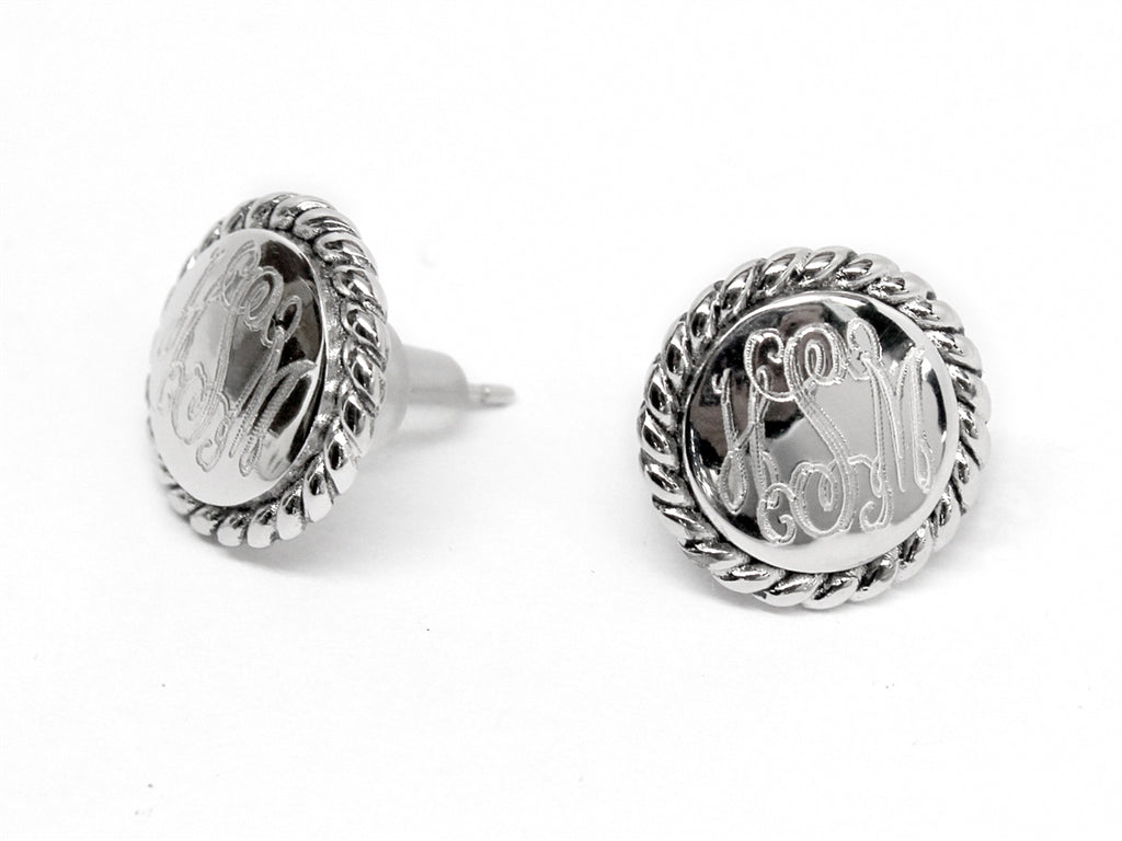Sterling Silver Engravable Rope Earrings