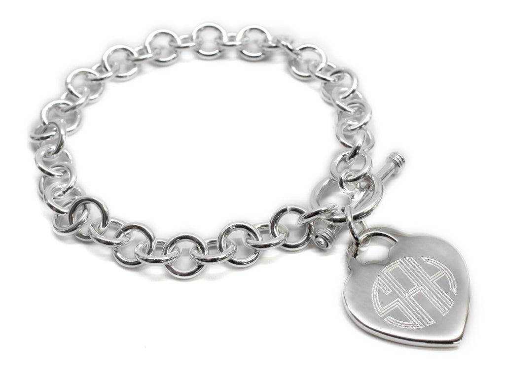 Heart Disc German Silver Bracelet - Allyanna Gifts