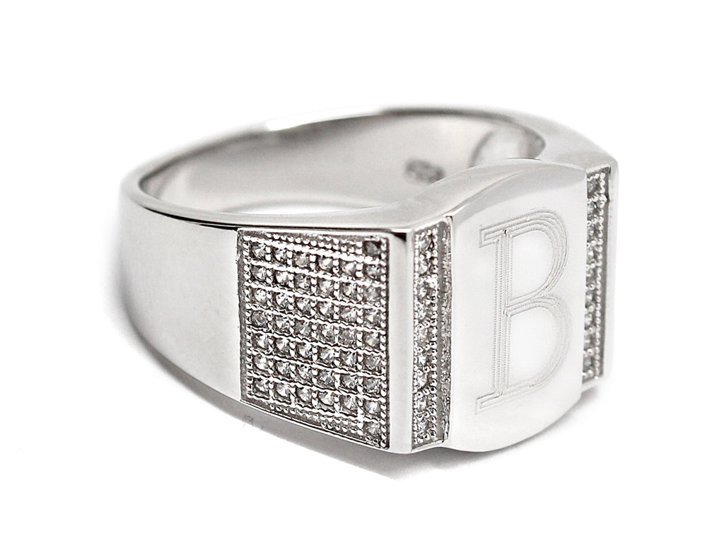 Sterling Silver Rectangle Engravable Men's Ring - Allyanna Gifts
