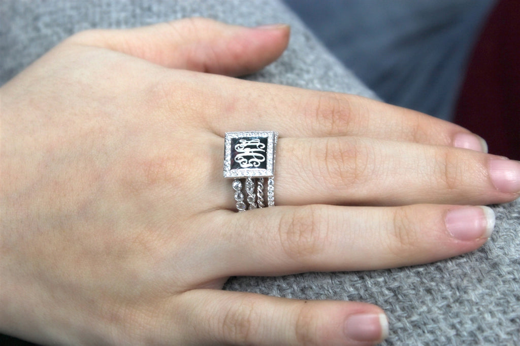Engravable Sterling Silver Square Quad CZ Ring