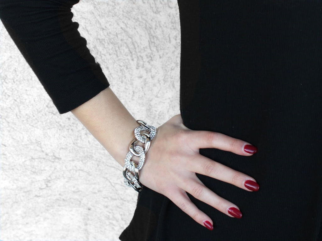 CZ-Accented Gold and Silver Links Bracelet - Allyanna Gifts