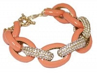 Designer Inspired Peach Large Gold Pave Bracelet