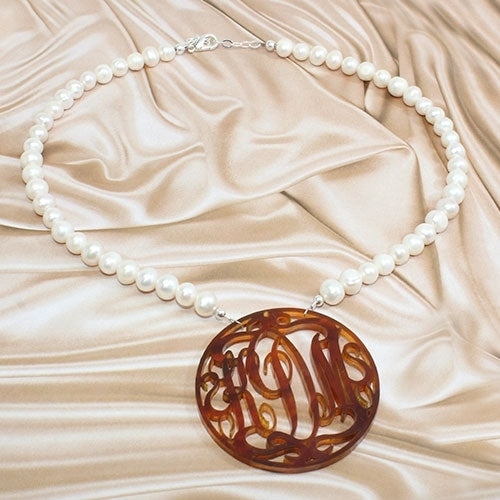 Rustic Pearl Acrylic Pendant Necklace