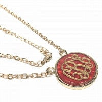 Gold Red Marble Necklace
