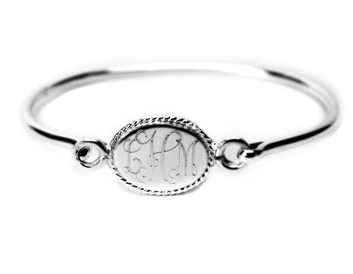 Engravable German Silver Oval Rope Bracelet