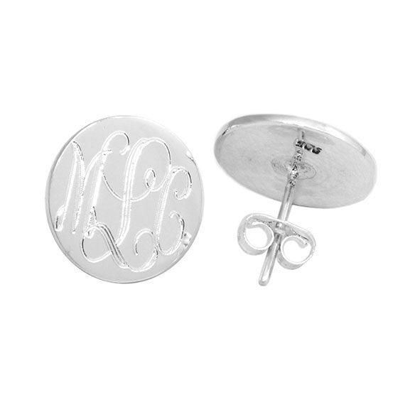 Sterling Silver Monogram Earrings - Allyanna Gifts
