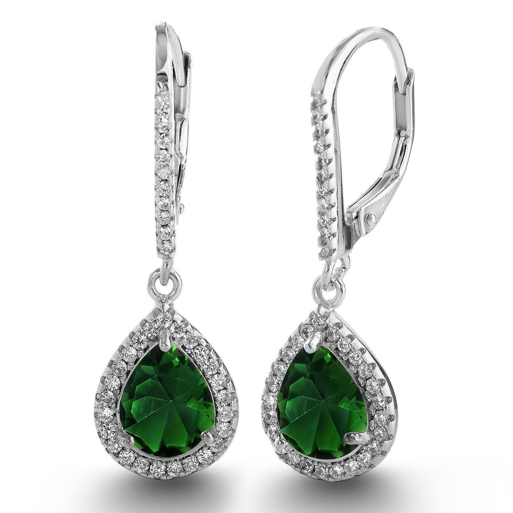 Sterling Silver Emerald Green Teardrop CZ Lever Back Earrings