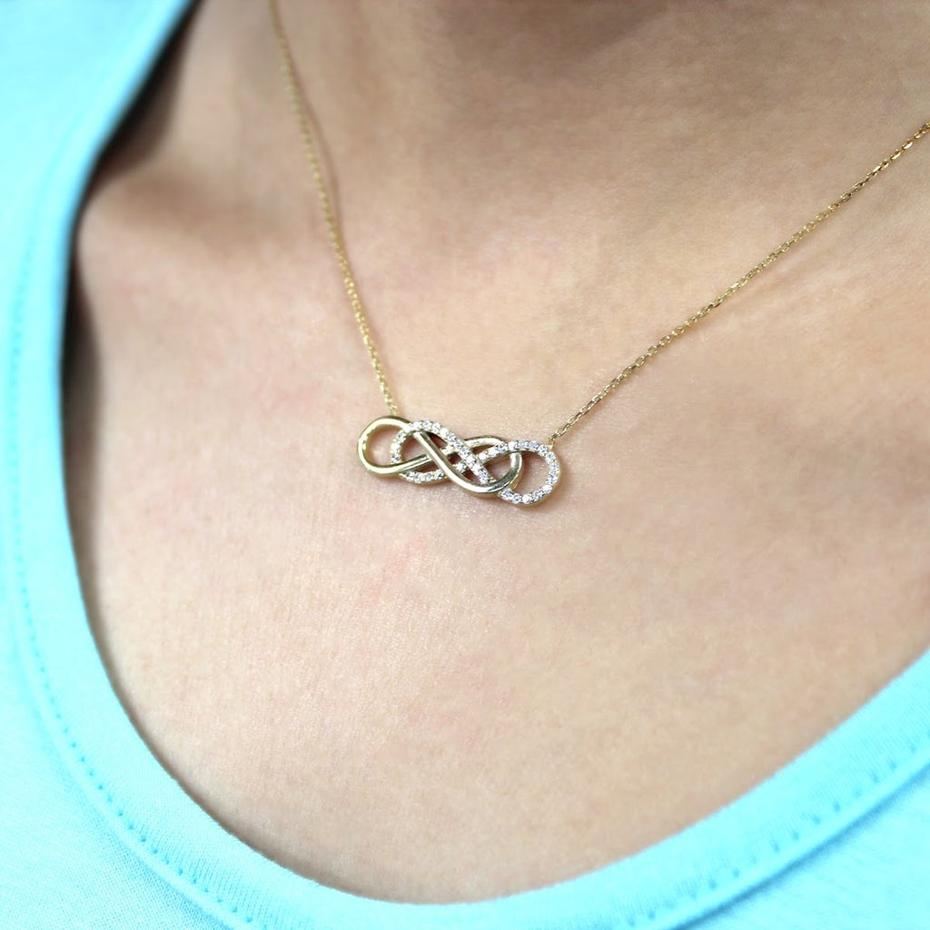 Sterling Silver Double Infinity Necklace - Allyanna Gifts