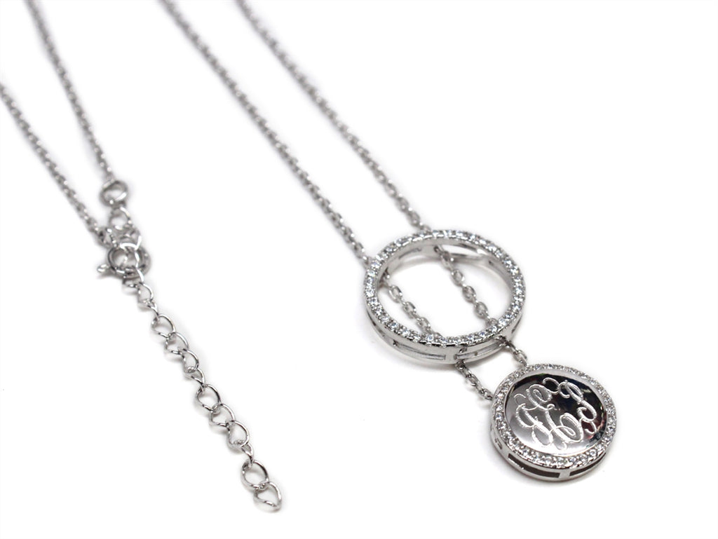 Sterling Silver Engravable CZ Halo Necklace - Allyanna Gifts