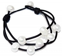 Three Strands Pearl Leather Bracelet