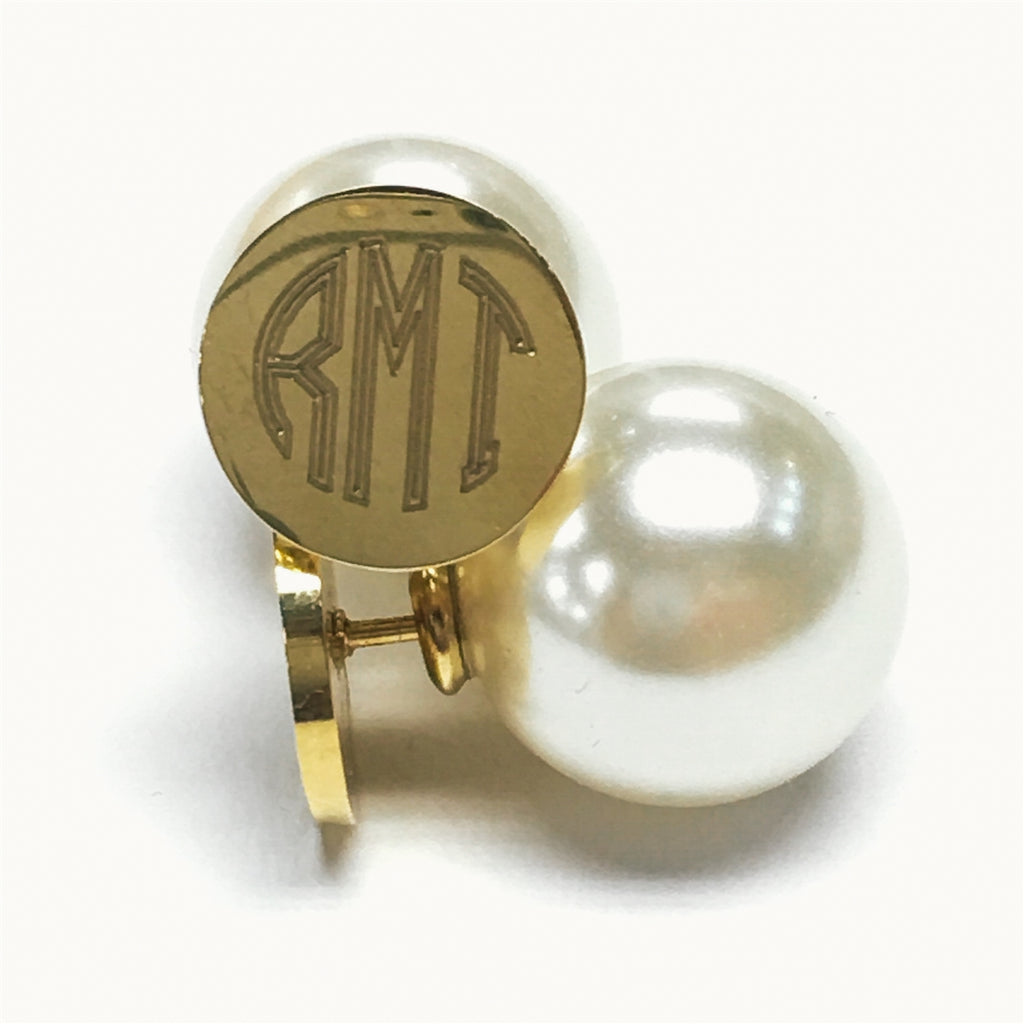 Stainless Steel Gold Monogram Earrings with Pearl Backs